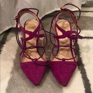 Zara faux suede lace up heels